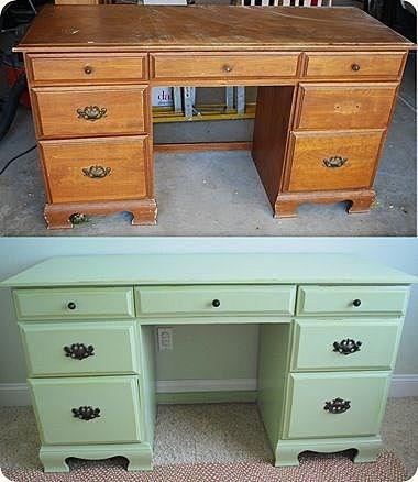Как реставрировать письменный старый стол своими руками 991