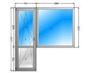 Балконный блок GUTWERK 58 мм / 3 кам / Roto 1 кам с/п 24 мм Top-N