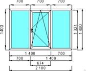 Окно пластиковое GUTWERK 58 мм / 3 кам / Roto 1 кам с/п 24 мм