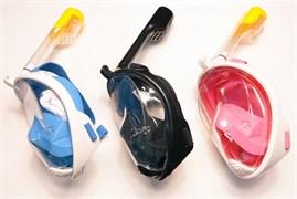 Маска для сноркелинга у поверхности водоема FREE BREATH Голубой L/XL