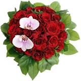 Розы, Орхидея Фаленопсис, Зелень, Упаковка