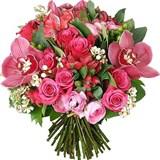 Роза, Альстромерия, Ранункулюсы, Орхидея, Шамелатсум, Упаковка
