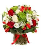 Хризантема, Роза, Эустома, Тюльпаны, Зелень, Упаковка