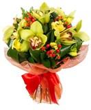 Орхидея, Фрезия, Альстромерия, Гиперикум, Упаковка